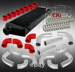 12Pcs 2.5 Aluminum Piping Kit + Fmic Front Mount Intercooler Black+ Coupler Red