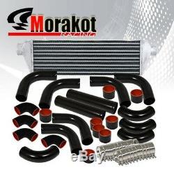 12 Piece 3 Aluminum Piping Kit Black+Coupler Black/RED+27.5 Turbo Intercooler