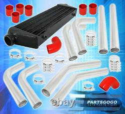 27.5 X 7 X 2.25 Front Mount Intercooler 2.5 T6061 Aluminum Piping Kit Red