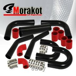 2.5 Aluminum Piping U-Pipe Kit Black/Red+27.5X7X2.5 Turbo Intercooler Fmic