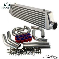 2.5 Inlet Front Mount Intercooler + 63mm Aluminum Piping Hose Clamps Kit DIY