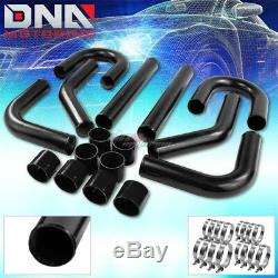 2.5turbo Front/side Mount Intercooler Black Diy 8pc Aluminum Piping+hose+clamp