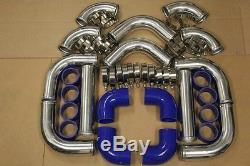 3 12pc CHROME FRONT MOUNT INTERCOOLER TURBO PIPING KIT + BLUE COUPLER CLAMPS