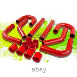 3 Fmic Aluminum 8pc Front Mount Turbo Intercooler Universal Piping Diy Kit Red
