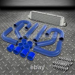 ALUMINUM TUBE AND FIN TURBO 27.25x7x2.75FRONT MOUNT INTERCOOLER+BLUE PIPING