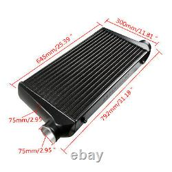 FOR UNIVERSAL ALLOY INTERCOOLER 3 inch IN/OUTLET 600 x 300 x 76 BLACK