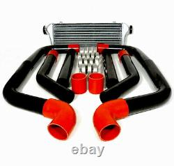 High Quality 2.5 Aluminum Intercooler 8Pc Clamp Red Copulers Black Piping Kit