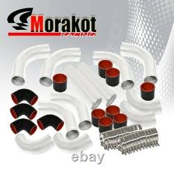 Jdm Auto Universal 2.5 inch 12 Pcs Piping Kit Pipe Black+Turbo 31 Intercooler