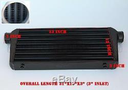 RDT Black Aluminum Turbo FMIC Front Mount Tube & Fin Intercooler 31 x 12'' x3'