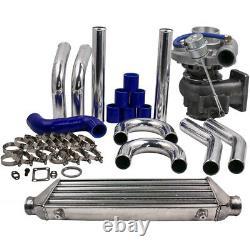 T3/T4 T04E Turbocharger Kit + Tube&Fin Intercooler 27x7x2.5 + Turbo Pipe