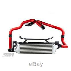 Turbo XS Front Mount Intercooler (Wrinkle Red Pipes) For Subaru 15+ STI
