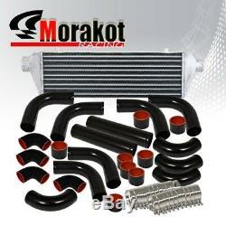 Universal 27.5 Turbo Intercooler+JDM 12Pcs 2.5Aluminum Piping Kits Black/BLK