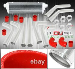 Universal 8 Pcs 2.5 Red Coupler Polish Piping Intercooler Kit T-Bolt Clamp