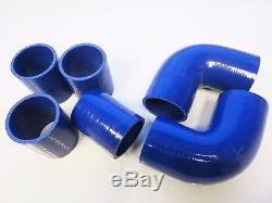 Universal Front Mount Intercooler Kit FMIC 57mm 2.25 BLUE HOSES 550x140x65 Core
