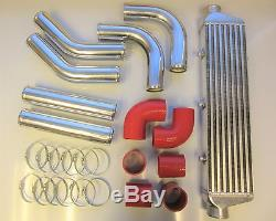 Universal Front Mount Intercooler Kit FMIC 57mm 2.25 RED HOSES 550x140x65 Core