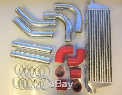 Universal Front Mount Intercooler Kit FMIC 63mm 2.5 RED HOSES 550x180x65 Core