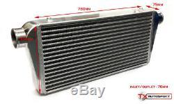 Universal Sport 780x300mmx75mm Front Mount Intercooler Core FMIC 76mm Inlet