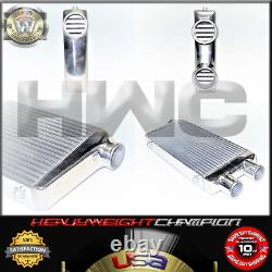 Universal Twin Turbo Intercooler 2-In 1-Out 32 x 12 x 3 Front mount Aluminum